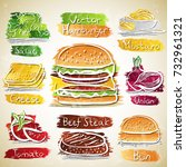 vector collection of hamburger... | Shutterstock .eps vector #732961321