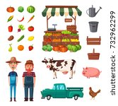 farm set with farmers  products ... | Shutterstock .eps vector #732962299