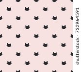 Stock vector cat head seamless vector pattern 732964591