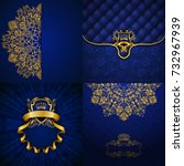 set of luxury ornate... | Shutterstock . vector #732967939