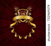 elegant golden frame with... | Shutterstock . vector #732969379