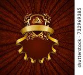 elegant golden frame with... | Shutterstock . vector #732969385