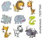 Stock vector set of cute cartoon animals a rhino lion giraffe elephant hippo snake leopard zebra and buffalo 73297363