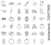 shovel icons set. outline style ... | Shutterstock .eps vector #732977005