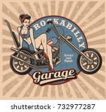 pin up girl on motorcycle ... | Shutterstock .eps vector #732977287