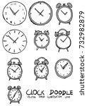 set of clock illustration hand... | Shutterstock .eps vector #732982879