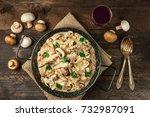 mushroom beef stroganoff with... | Shutterstock . vector #732987091