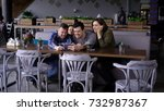group of smiling people making... | Shutterstock . vector #732987367