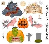 set of halloween related... | Shutterstock .eps vector #732992821