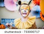boy in lion fancy dress... | Shutterstock . vector #733000717