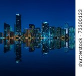 Miami skyline at night - panoramic image - stock photo