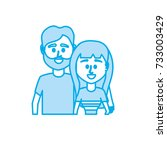 silhouette couple together with ... | Shutterstock .eps vector #733003429