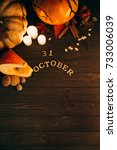 wooden lettering '31 october'... | Shutterstock . vector #733006039
