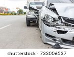 modern car accident involving... | Shutterstock . vector #733006537