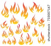 vector set of flame. a... | Shutterstock .eps vector #733007167