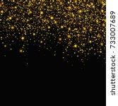 gold glitter falling stars... | Shutterstock .eps vector #733007689