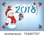 christmas card with snowman in... | Shutterstock .eps vector #733007707