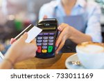 customer paying through credit... | Shutterstock . vector #733011169