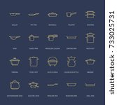 pot  pan and steamer line icons.... | Shutterstock .eps vector #733025731