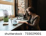 young attractive woman sitting... | Shutterstock . vector #733029001