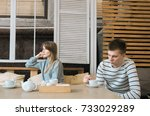 young emotional couple get... | Shutterstock . vector #733029289