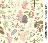 christmas seamless pattern with ... | Shutterstock .eps vector #733031134