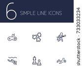 set of 6 lifestyle outline... | Shutterstock .eps vector #733033234