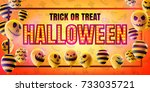 halloween concept with... | Shutterstock .eps vector #733035721