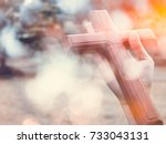person praying with cross in... | Shutterstock . vector #733043131
