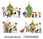 funny scenes  people celebrate... | Shutterstock .eps vector #733046884