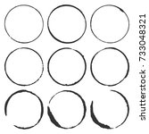 a set of vector grunge circles... | Shutterstock .eps vector #733048321