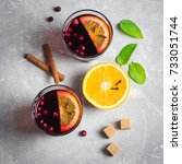 Small photo of Homemade fall drink, mulled wine. Top view, space for text.