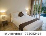 interior of cozy bedroom in... | Shutterstock . vector #733052419