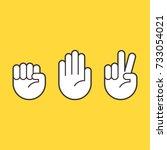 hand gestures for rock paper... | Shutterstock .eps vector #733054021
