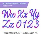 3d rounded headline font. neon... | Shutterstock .eps vector #733063471