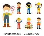 set of men showing to use... | Shutterstock .eps vector #733063729