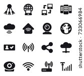 16 vector icon set   share ... | Shutterstock .eps vector #733066984