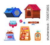 pet shop  dog goods and... | Shutterstock .eps vector #733072831