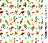 christmas seamless pattern with ... | Shutterstock .eps vector #733075471