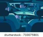 view from back seat of car.... | Shutterstock .eps vector #733075801
