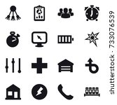16 vector icon set   share ... | Shutterstock .eps vector #733076539