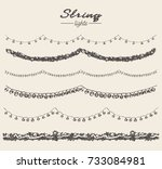 set of hand drawn string lights ... | Shutterstock .eps vector #733084981