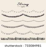 set of hand drawn string lights ... | Shutterstock .eps vector #733084981