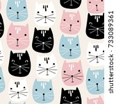 cute cats faces seamless... | Shutterstock .eps vector #733089361