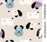 seamless childish pattern with... | Shutterstock .eps vector #733089439
