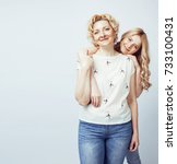mother with daughter together... | Shutterstock . vector #733100431