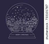 vector christmas thin line... | Shutterstock .eps vector #733101787