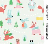 seamless festive pattern with... | Shutterstock .eps vector #733107289