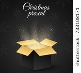 christmas golden box with a... | Shutterstock .eps vector #733108171