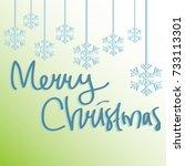 handwriting of merry christmas...   Shutterstock .eps vector #733113301